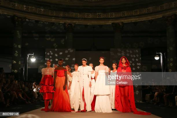 Models pose on the runway on the fourth day of Code 41 Trending Day with designs by Patricia Bazarot on September 28 2017 in Seville Spain