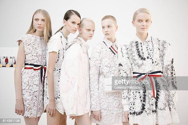 Models pose prior the Moncler Gamme Rouge show as part of the Paris Fashion Week Womenswear Spring/Summer 2017 on October 5 2016 in Paris France