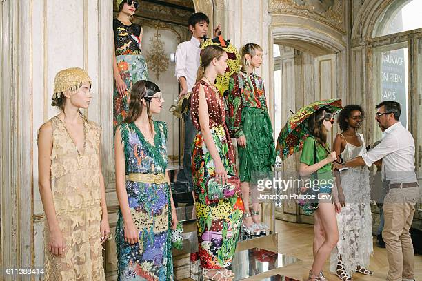 Models pose prior the Tsumori Chisato Presentation as part of the Paris Fashion Week Womenswear Spring/Summer 2017 on September 29 2016 in Paris...