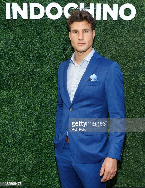 Models pose wearing Indochino apparel at the Indochino Los Angeles Spring/Summer '19 Launch Party at SkyBar at the Mondrian Los Angeles on March 13...