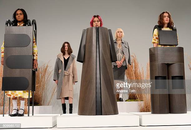 Models pose wearing Ohlin/D Fall 2016 during New York Fashion Week: The Shows at Pier 59 Studios on February 13, 2016 in New York City.