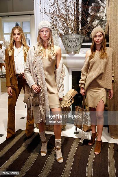 Models pose wearing Polo Ralph Lauren Fall 2016 during New York Fashion Week on February 12 2016 in New York City
