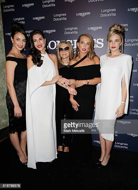 Models pose with Carla Zampatti at the Longines DolceVita Asia Pacific launch at Museum of Contemporary Art on April 8 2016 in Sydney Australia