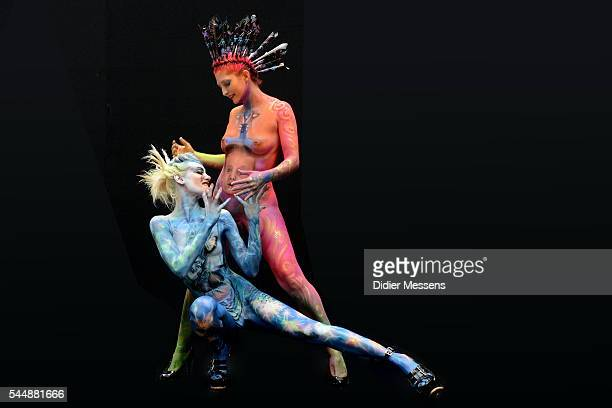 Models pose with their bodypainting during the World Bodypainting Festival in Poertschach am Woerthersee Austria