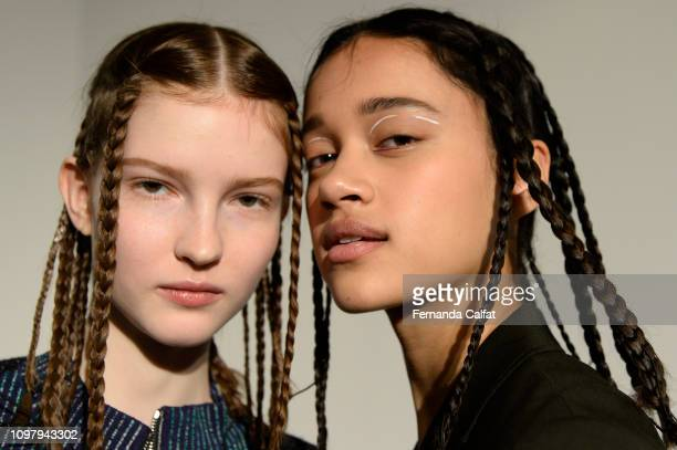 Models poses at backstage for 3.1 Phillip Lim Backstage February 2019 at New York Fashion Week at Center 415 on February 11, 2019 in New York City.