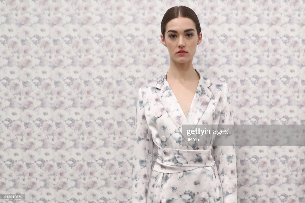 A models poses at the Alejandra Alonso Rojas FW18 Collection on February 8, 2018 in New York City.