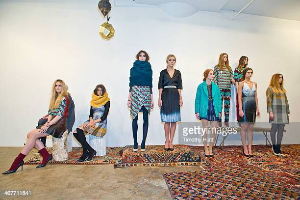 Models poses at the Harare presentation during MADE Fashion Week Fall 2014 at Highline Loft on February 7 2014 in New York City