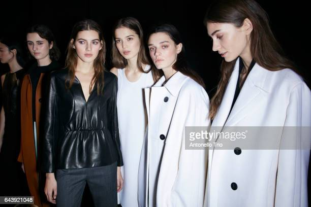 Models poses backstage at Narciso Rodriguez Fall/Winter 2017 Show during New York Fashion Week on February 14 2017 in New York City