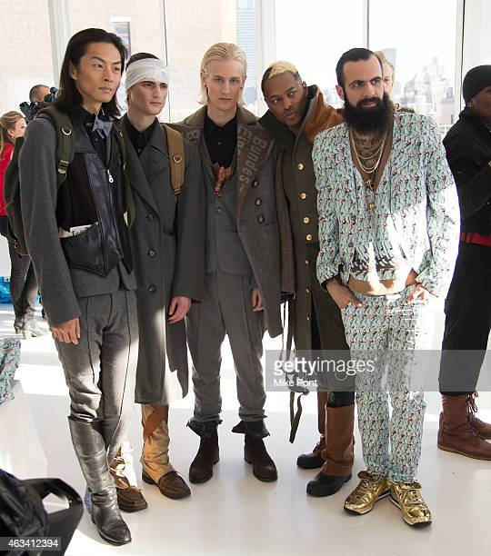 Models poses backstage at the Nina Athanasiou fashion show during Mercedes Benz Fashion Week Fall 2015 at The Designer's Loft on February 13 2015 in...