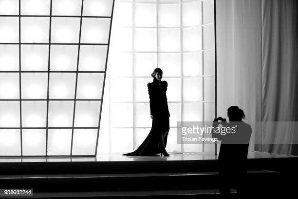 A models poses for photographs ahead the Urun show during MercedesBenz Istanbul Fashion Week at the Zorlu Performance Hall on March 27 2018 in...