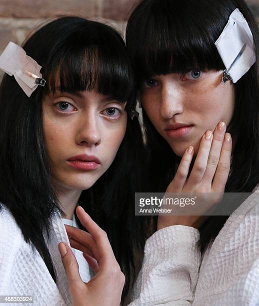 Models poses JINsoon nailcare during JINsoon for Vera Wang Spring/Summer 2016 Fashion Show at Cedar Lake on September 15 2015 in New York City