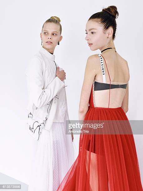 Models poses prior the Christian Dior show as part of the Paris Fashion Week Womenswear Spring/Summer 2017 on September 30 2016 in Paris France