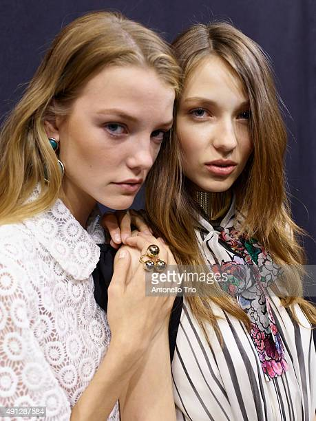 Models poses prior the Elie Saab show as part of the Paris Fashion Week Womenswear Spring/Summer2016 on October 3 2015 in Paris France
