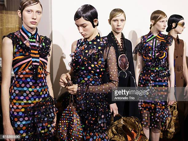 Models poses prior the Givenchy show as part of the Paris Fashion Week Womenswear Spring/Summer 2017 on October 2 2016 in Paris France