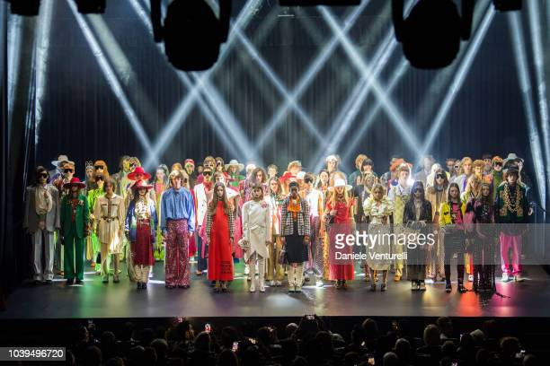 Models poses the stage at the Gucci show during Paris Fashion Week Spring/Summer 2019 on September 24, 2018 in Paris, France.