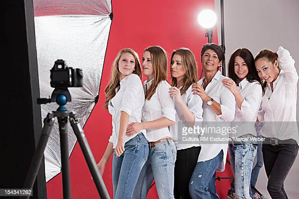 Models posing at fashion shoot