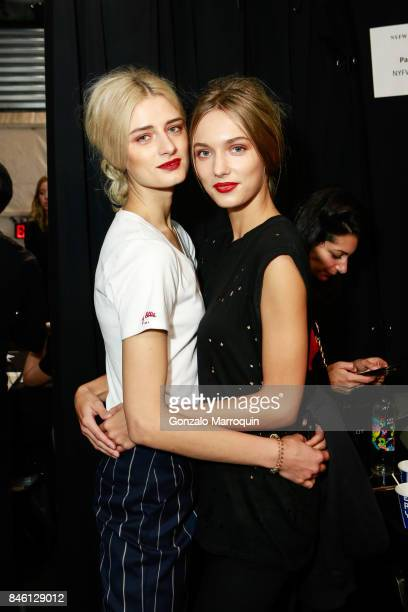 Models posing backstage during the Badgley Mischka Fashion show during New York Fashion Week The Shows at Gallery 3 Skylight Clarkson Sq on September...