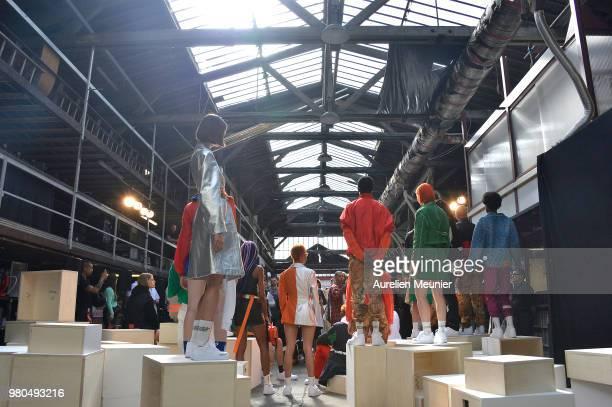 Models posing during the Heron Preston Menswear Spring/Summer 2019 'En Vogue' Presentation as part of Paris Fashion Week on June 21 2018 in Paris...