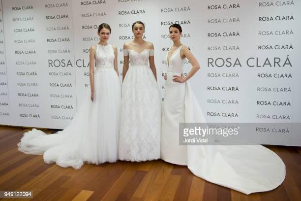 Models posing during the Rosa Clara opening showroom on April 20 2018 in Sant Just Desvern Spain