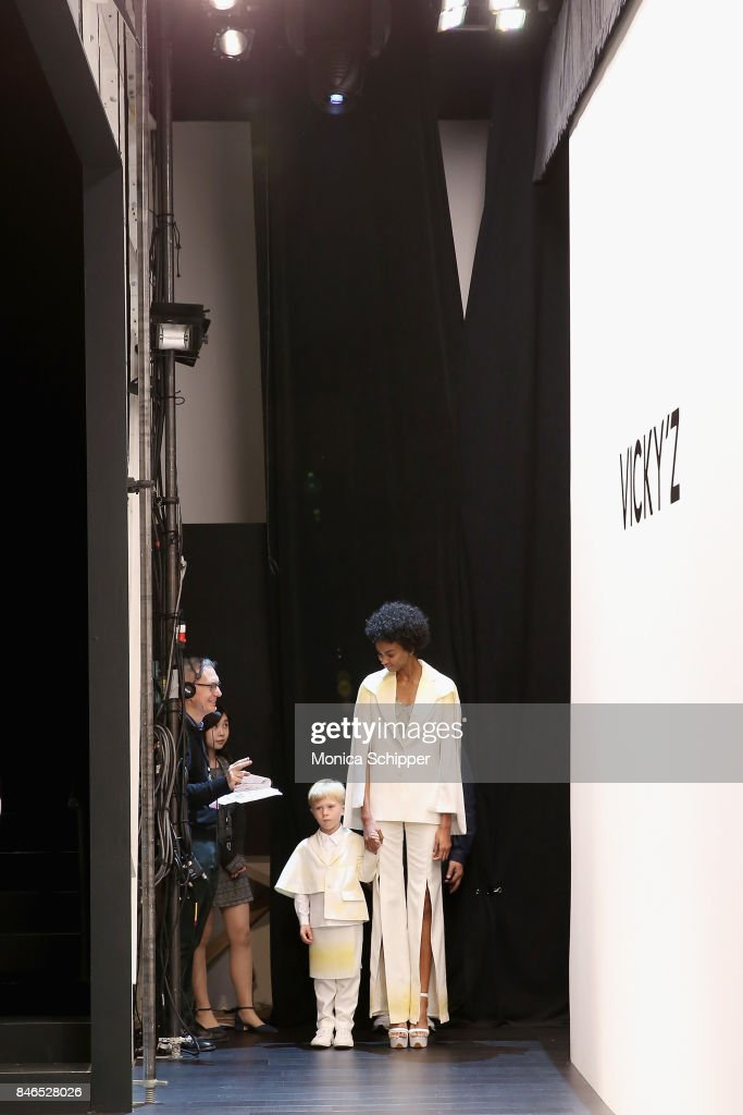 Models practice their walk before the Vicky Zhang fashion show during New York Fashion Week: The Shows at Gallery 1, Skylight Clarkson Sq on September 13, 2017 in New York City.