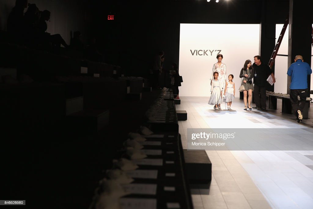 Models practice their walk on the runway for the Vicky Zhang fashion show during New York Fashion Week: The Shows at Gallery 1, Skylight Clarkson Sq on September 13, 2017 in New York City.