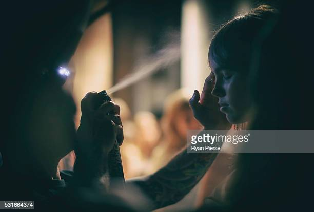 Models preapre backstage during the Ginger and Smart show during MercedesBenz Fashion Week Australia at Carriageworks on May 16 2016 in Sydney New...