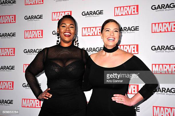 Models Precious Lee and Ashley Graham attend the Marvel and Garage Magazine New York Fashion Week Event on February 11 2016 in New York City
