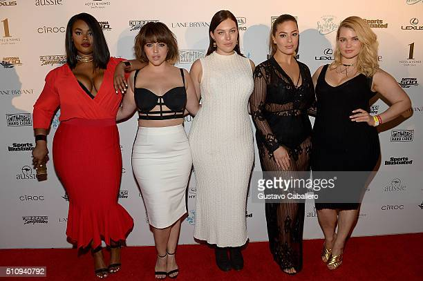 Models Precious Lee Denise Bidot Georgia Pratt Ashley Graham and Tara Lynn attend the Sports Illustrated Swimsuit 2016 Swim BBQ VIP at 1 Hotel Homes...