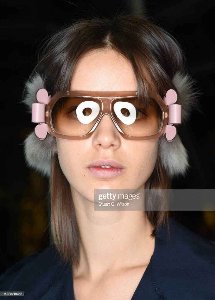 Models prepare backstage ahead of the Anya Hindmarch show during London Fashion Week February 2017 collections on February 19, 2017 in London, England.