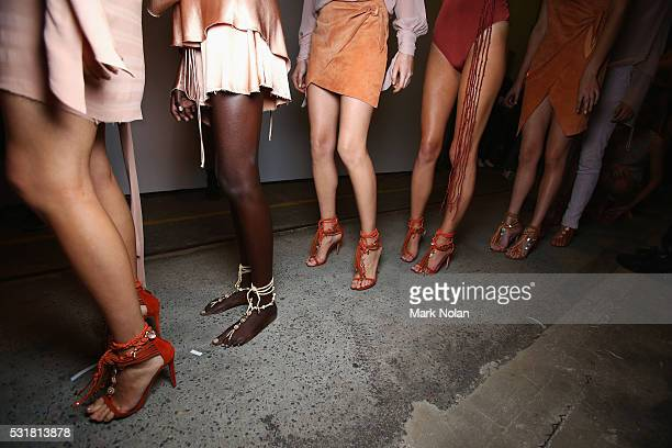 Models prepare backstage ahead of the Bec Bridge show at MercedesBenz Fashion Week Resort 17 Collections at Carriageworks on May 17 2016 in Sydney...