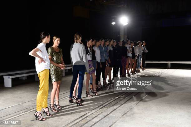 Models prepare backstage ahead of the Bianca Spender show at MercedesBenz Fashion Week Australia 2014 at Biennale Bay 2224 Carriageworks on April 9...