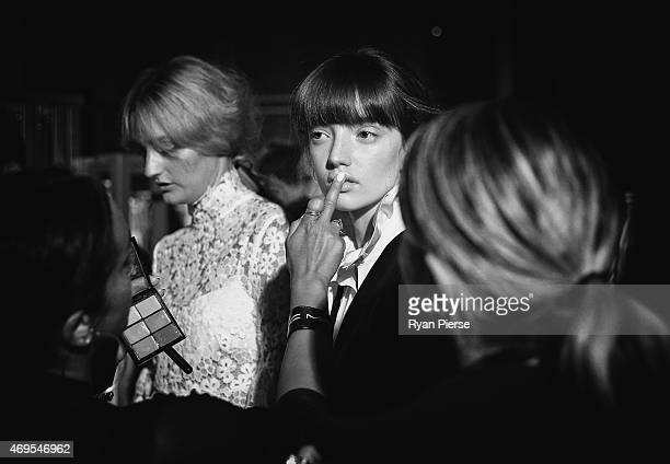 Models prepare backstage ahead of the Macgraw show the By Johnny show at MercedesBenz Fashion Week Australia 2015 at Carriageworks on April 13 2015...