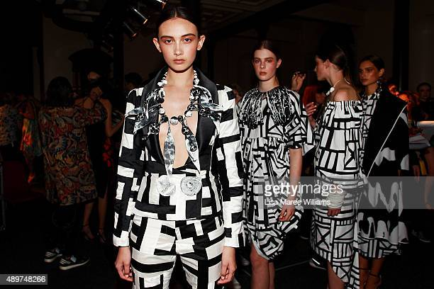 Models prepare backstage ahead of the Ready To Wear show during MercedesBenz Fashion Festival Sydney 2015 at Sydney Town Hall on September 24 2015 in...