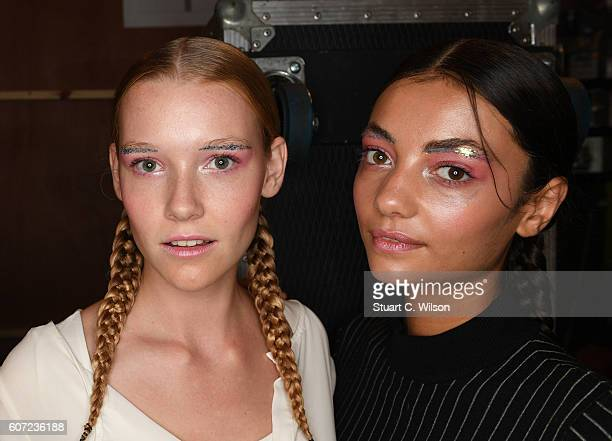 Models prepare backstage ahead of the Sabinna runway show at Fashion Scout during London Fashion Week Spring/Summer collections 2017 on September 17...