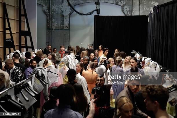 Models prepare backstage ahead of the StGeorge NextGen show at MercedesBenz Fashion Week Resort 20 Collections at Carriageworks on May 16 2019 in...