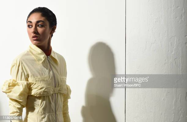 Models prepare backstage ahead of the Supriya Lele presentation during London Fashion Week February 2019 at the BFC Show Space on February 18, 2019...