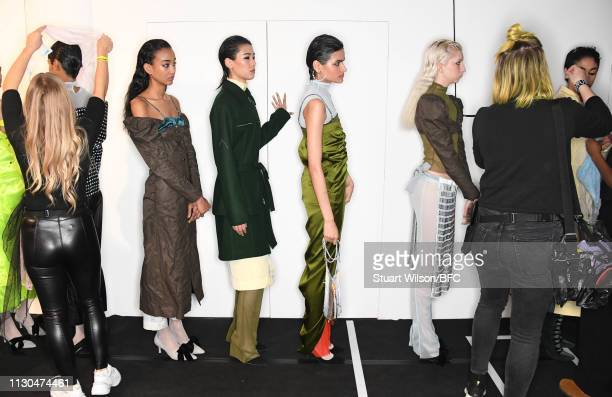 Models prepare backstage ahead of the Supriya Lele presentation during London Fashion Week February 2019 at the BFC Show Space on February 18 2019 in...