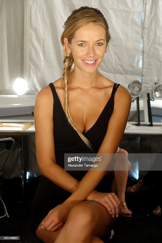 Models prepare backstage at Belusso fashion show during Mercedes-Benz Fashion Week Swim 2015 at Oasis at The Raleigh on July 20, 2014 in Miami, Florida.
