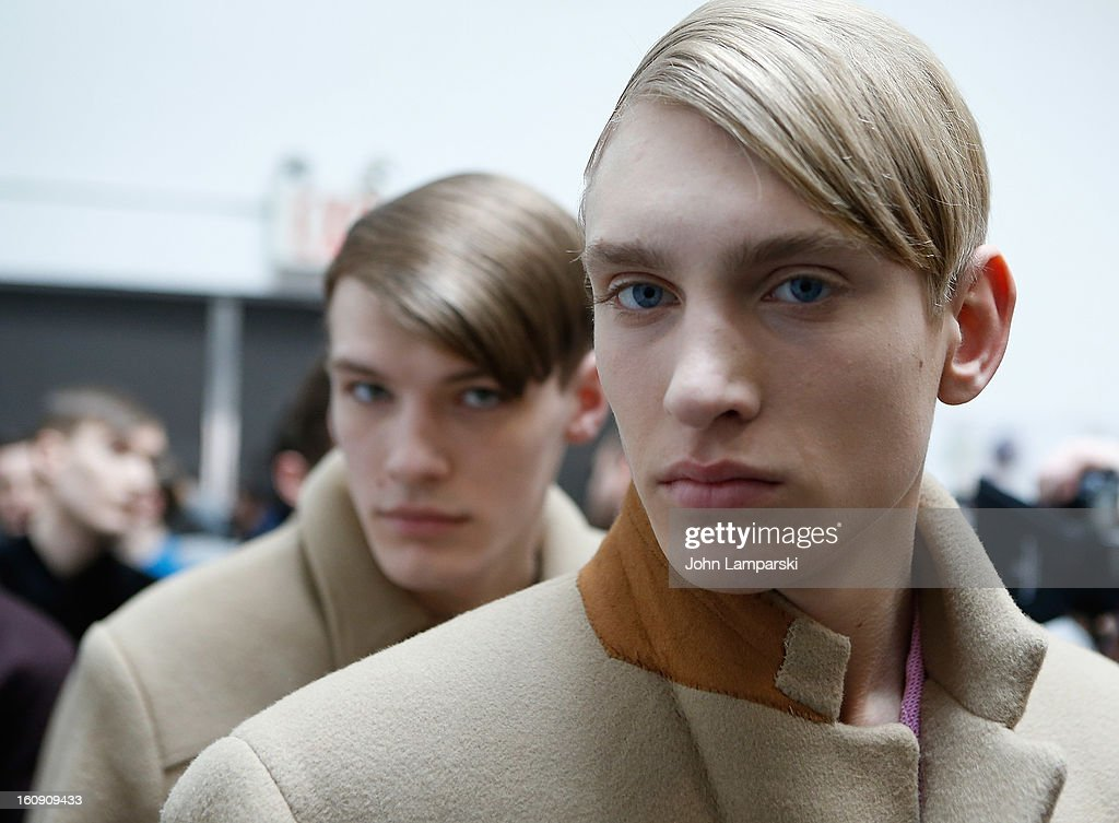 Models prepare backstage at Duckie Brown during Fall 2013 Mercedes-Benz Fashion Week at Industria Superstudio on February 7, 2013 in New York City.