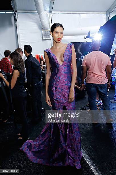 Models prepare backstage at Malan Breton during MercedesBenz Fashion Week Spring 2015 at The Salon at Lincoln Center on September 6 2014 in New York...