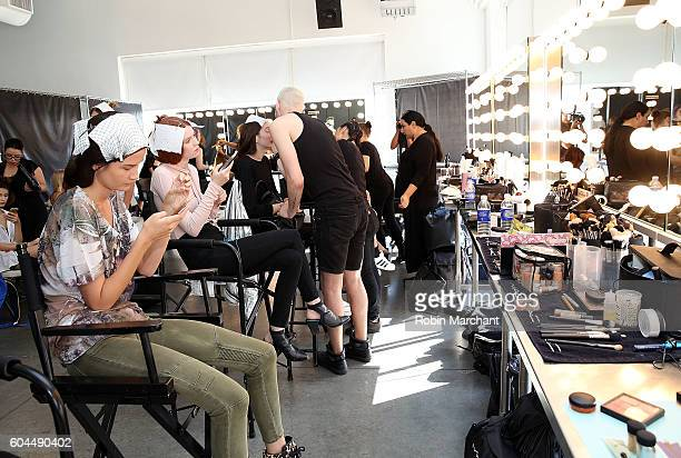 Models prepare backstage at Miguel Vieira September 2016 during New York Fashion Week at Pier 59 Studios on September 13 2016 in New York City
