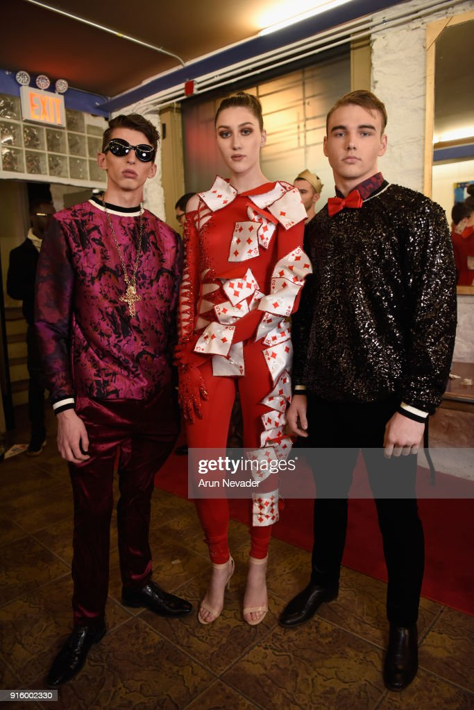 Models prepare backstage at New York Fashion Week Powered by Art Hearts Fashion NYFW at The Angel Orensanz Foundation on February 8, 2018 in New York City.