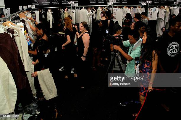 models prepare backstage at the Academy of Art University Spring 2015 Collections during MercedesBenz Fashion Week Spring 2015 at The Theatre at...