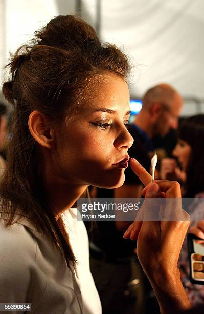 Models prepare backstage at the Alice Temperly Spring 2006 fashion show during Olympus Fashion Week at Bryant Park September 12 2005 in New York City