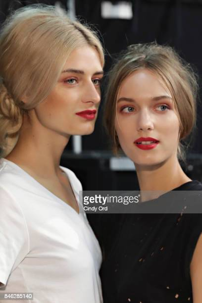 Models prepare backstage at the Badgley Mischka fashion show during September 2017 New York Fashion Week The Shows at Gallery 1 Skylight Clarkson Sq...