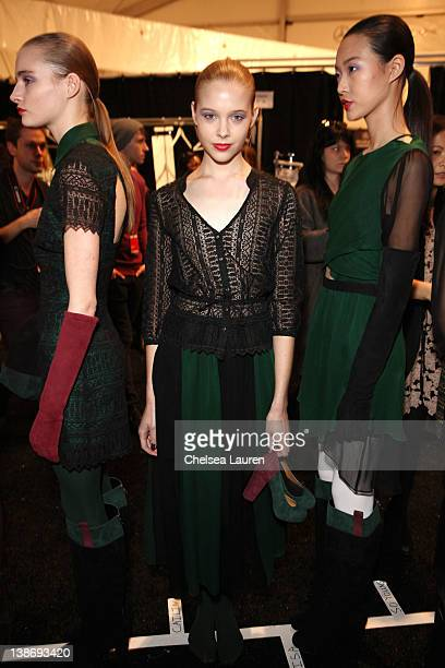 Models prepare backstage at the Charlotte Ronson Fall 2012 fashion show during MercedesBenz Fashion Week at The Stage at Lincoln Center on February...