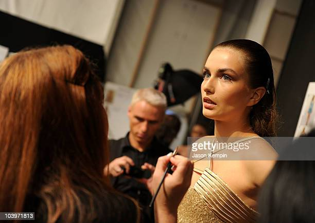 Models prepare backstage at the Edition by Georges Chakra Spring 2011 fashion show during MercedesBenz Fashion Week at The Stage at Lincoln Center on...