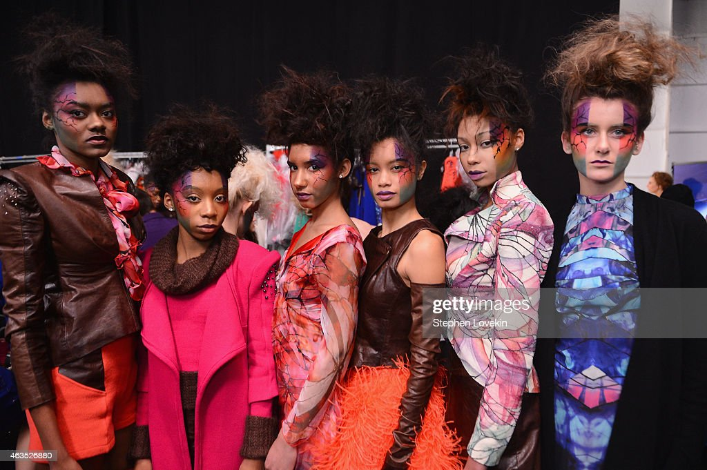 Models prepare backstage at the FTL Moda fashion show during Mercedes-Benz Fashion Week Fall 2015 at The Salon at Lincoln Center on February 15, 2015 in New York City.