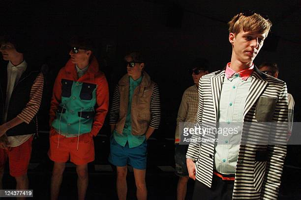 Models prepare backstage at the General Idea Spring 2012 fashion show during MercedesBenz Fashion Week at The Studio at Lincoln Center on September 9...