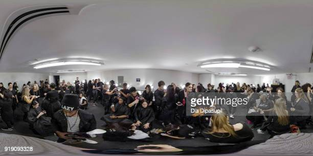 Models prepare backstage at the Leanne Marshall fashion show during New York Fashion Week The Shows at Gallery II at Spring Studios on February 14...